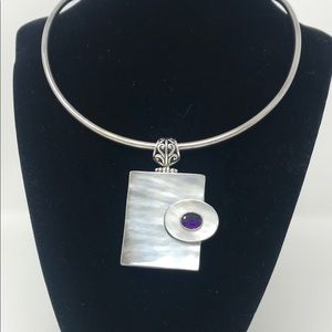 Mother of Pearl Amethyst Sterling Silver Pendant